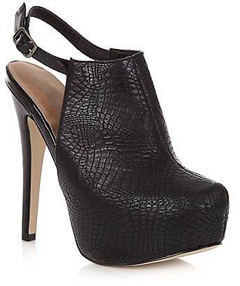 Black High Vamp Croc Print Sling Back Heels