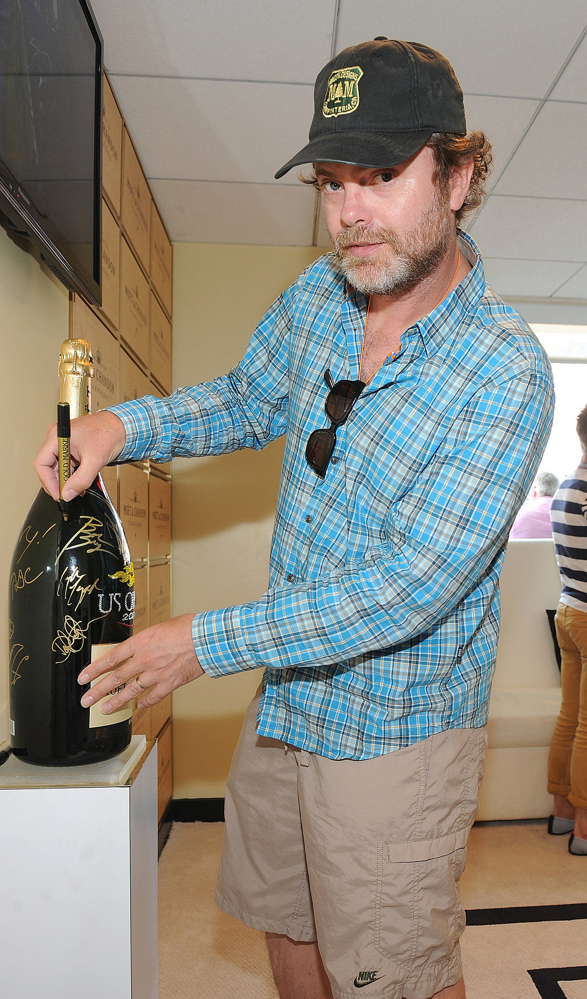 Rainn Wilson visited the Moet & Chandon suite at the US Open.