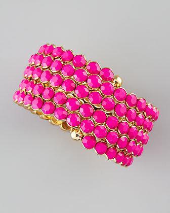 Cara Accessories Crystal Spiral Bracelet, Pink