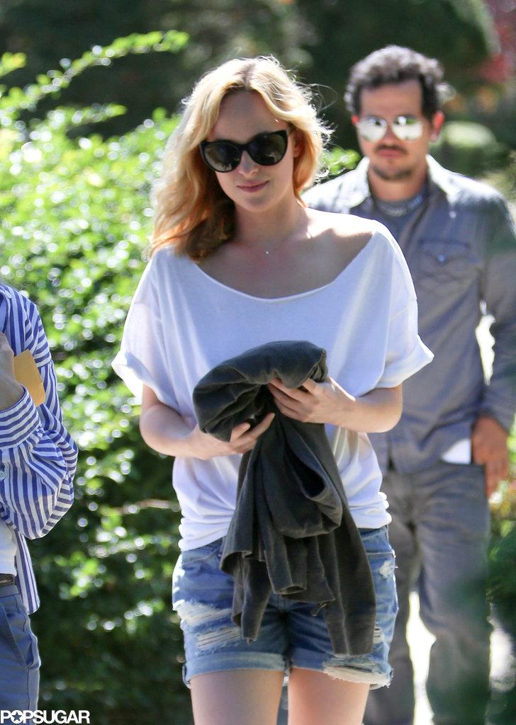 Dakota Johnson filmed Cymbeline in Brooklyn on Wednesday.