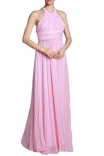 BCBG BELT HALTER SLIM LONG EVENING DRESS PINK