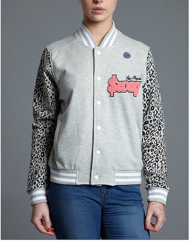Beck and Hersey Swag Leopard Varsity Bomber Jacket