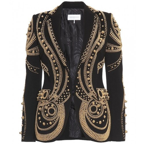 Black Metallic Bead Embroidered Blazer