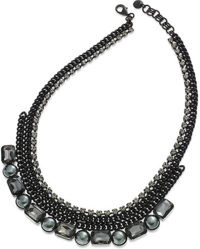 Juicy Couture Necklace, Black-Tone Chain and Glass Pearl Rhinestone Frontal Necklace