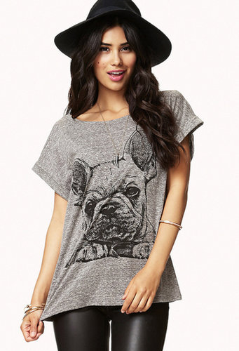 FOREVER 21 French Bulldog Slub Tee