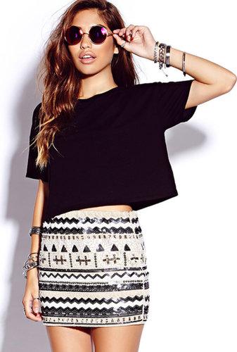 FOREVER 21 Beads & Sequins Mini Skirt