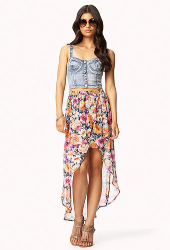 FOREVER 21 Floral Print High-Low Skirt