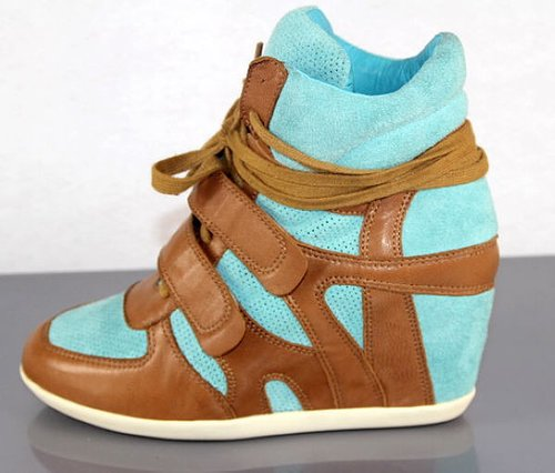 ASH BLUE AND BROWN WEDGE HI TOP TRAINER SHOES