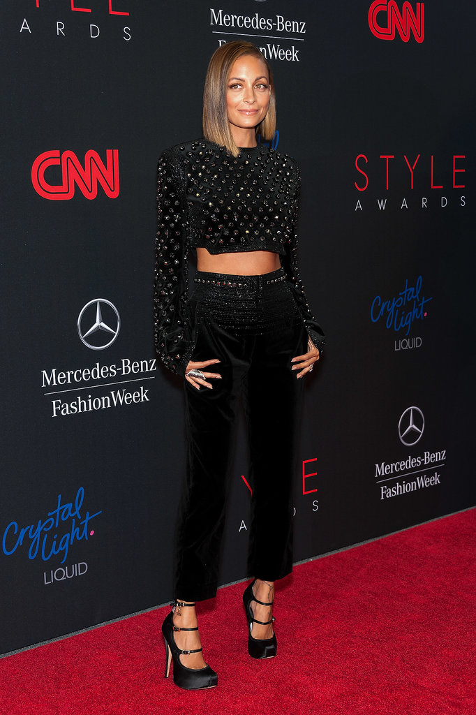 Nicole Richie put her midriff on display in a Giorgio Armani jumpsuit with a cutout at the 2013 Style Awards in NYC.