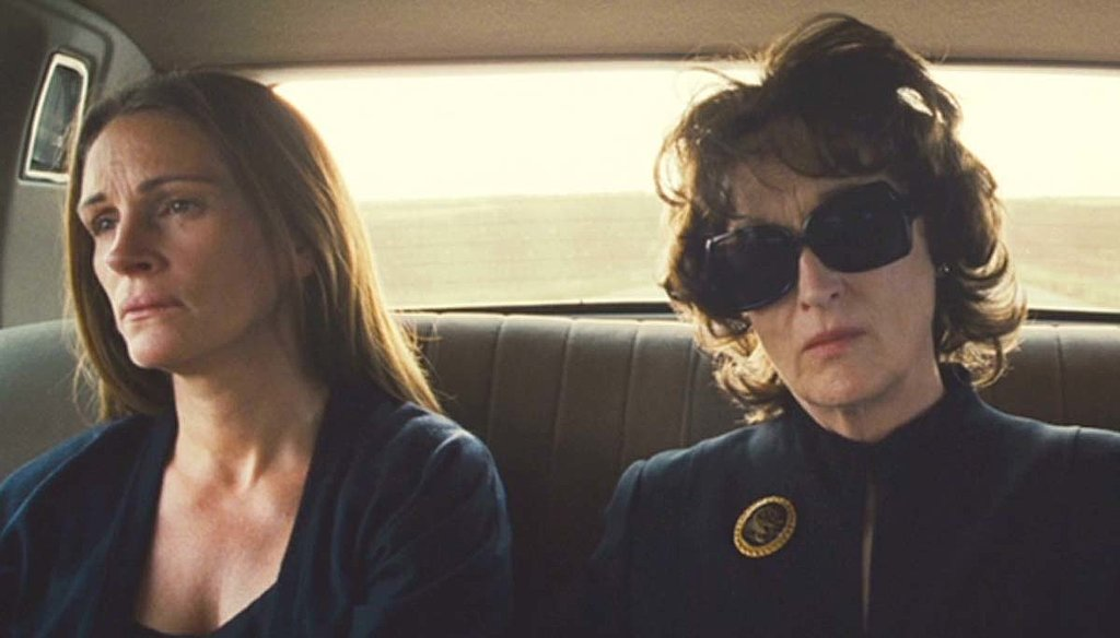"""August: Osage County Things get ugly and uncomfortable in this portrait of an Oklahoma family who has to come together when the patriarch dies, but every minute is absorbing. Somehow Meryl Streep manages to top herself as a pill-popping mother who has a nasty (or """"truth-telling,"""" according to her) side that makes you cringe . . . and sometimes smirk. Julia Roberts is at the top of her game too as a daughter who's bitter, but in pain. The rest of the cast is nothing to slouch at, either; Margo Martindale, Julianne Nicholson, and Chris Cooper also shine."""