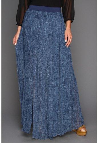 BCBGMAXAZRIA - Print Dillion Paneled Pleated Skirt (Dark Parisian Blue Combo) - Apparel