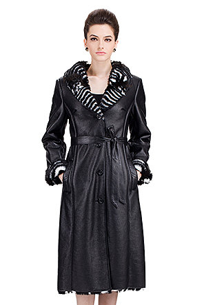 Modern Paris Series/black suede with faux black and white striped rabbit fur/long suede coat - New Products