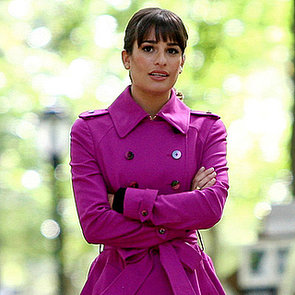 Lea Michele Wears a Cory Necklace on the Glee Set
