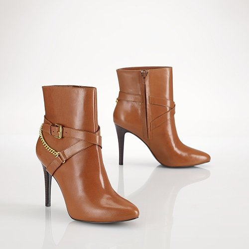 Ralph Lauren Chain Buckled Leather Bootie