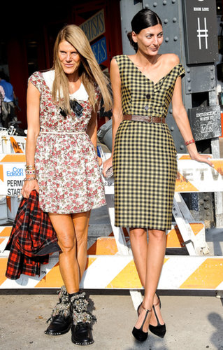 Anna Dello Russo and Giovanna Battaglia add up to a pretty epic street style moment.