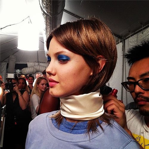Lindsay Wixson got wrapped up with Marc by Marc Jacobs backstage before the show. Source: Instagram user nylonmag