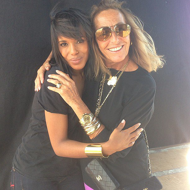 Kerry Washington posed with famed stylist Carlyne Cerf de Dudzeele after a photo shoot. Source: Instagram user kerrywashington