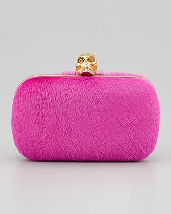 Alexander McQueen Classic Calf Hair Skull-Clasp Clutch, Pink