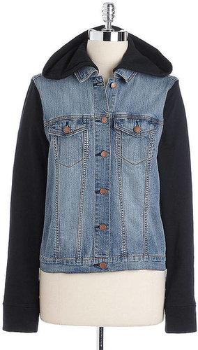 TINSEL Hooded Denim Terry Layered Jacket
