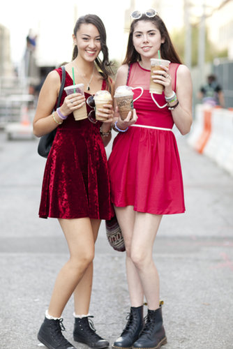 These ladies in red know that the trick to surviving Fashion Week is to stay caffeinated.