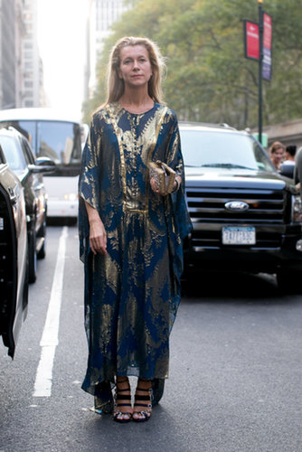 Natalie Joos dressed for the NYC heat wave in a gilded caftan.