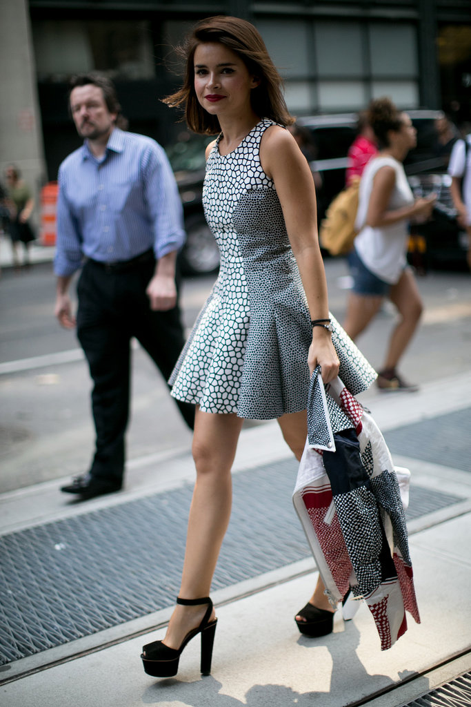 Miroslava Duma looked sweet in a fit-and-flare dress and platforms.