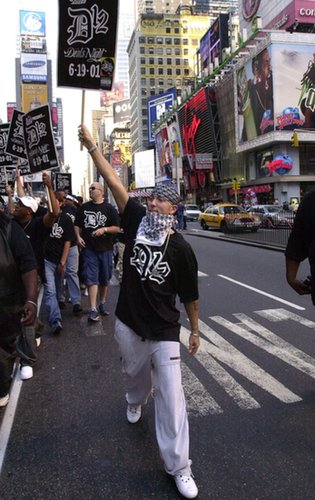 Eminem took to the streets of Times Square on TRL in 2001.