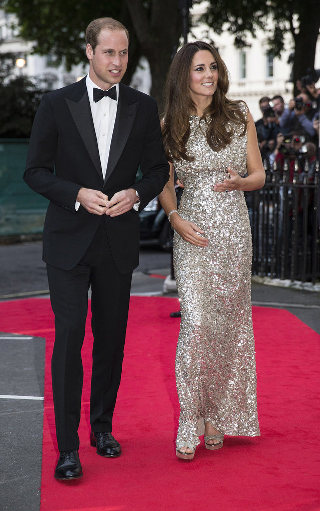 Kate Middleton wore a Jenny Packham gown for a night out with Prince William.