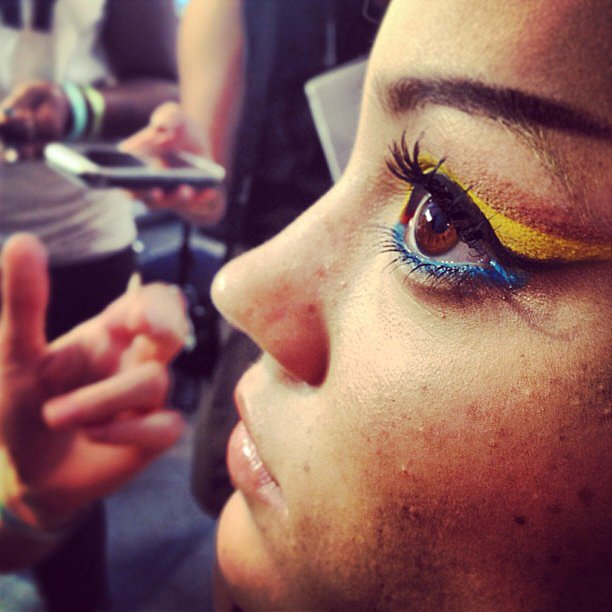 The eye makeup backstage at The Blonds was a rainbow of color.