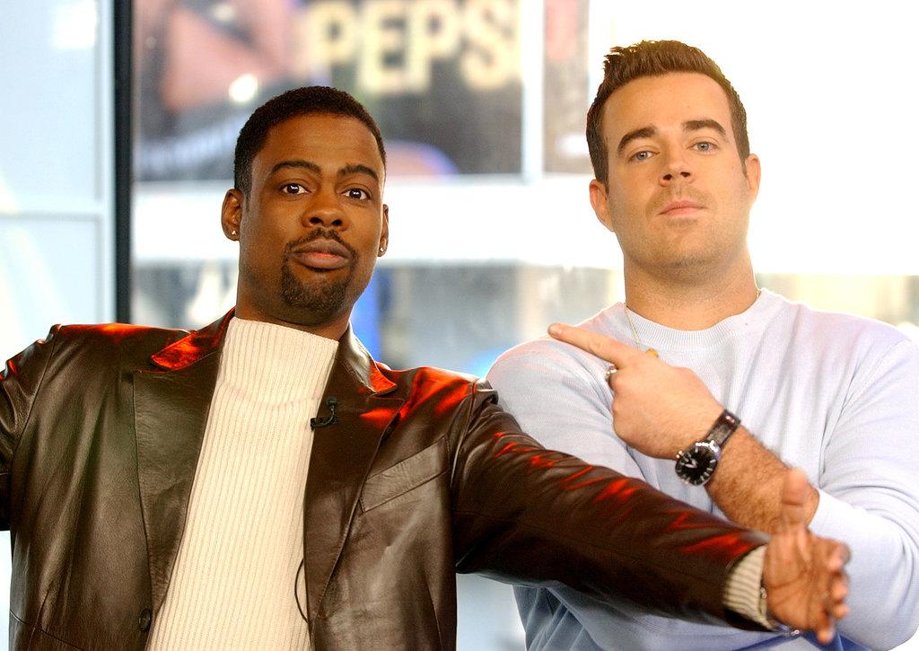 Chris Rock and Carson Daly joked around on TRL in 2003.
