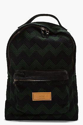 AMI Black & green wool zig zag backpack