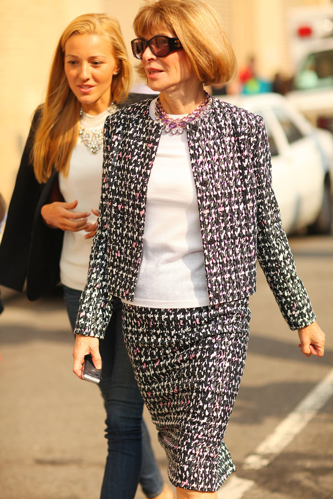 We spied Anna Wintour in her go-to polished suiting.
