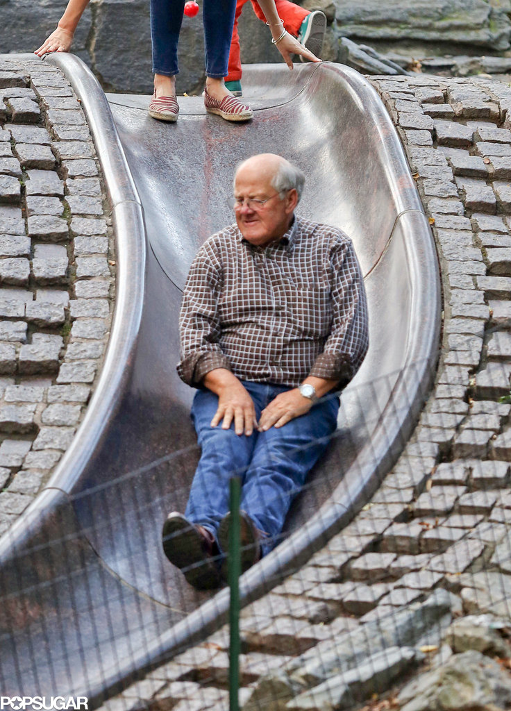 Miranda Kerr's dad took a turn on the slide.