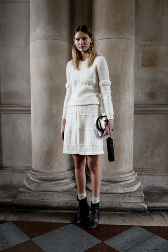This white-on-white look was all about the texture — and the great accessories.