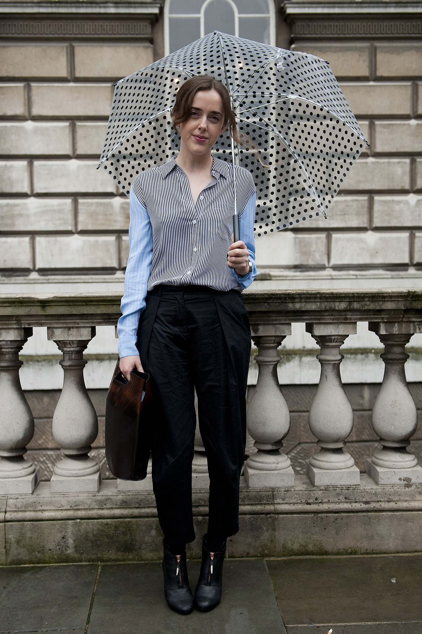 Borrowed-from-the-boys stripes and trousers.