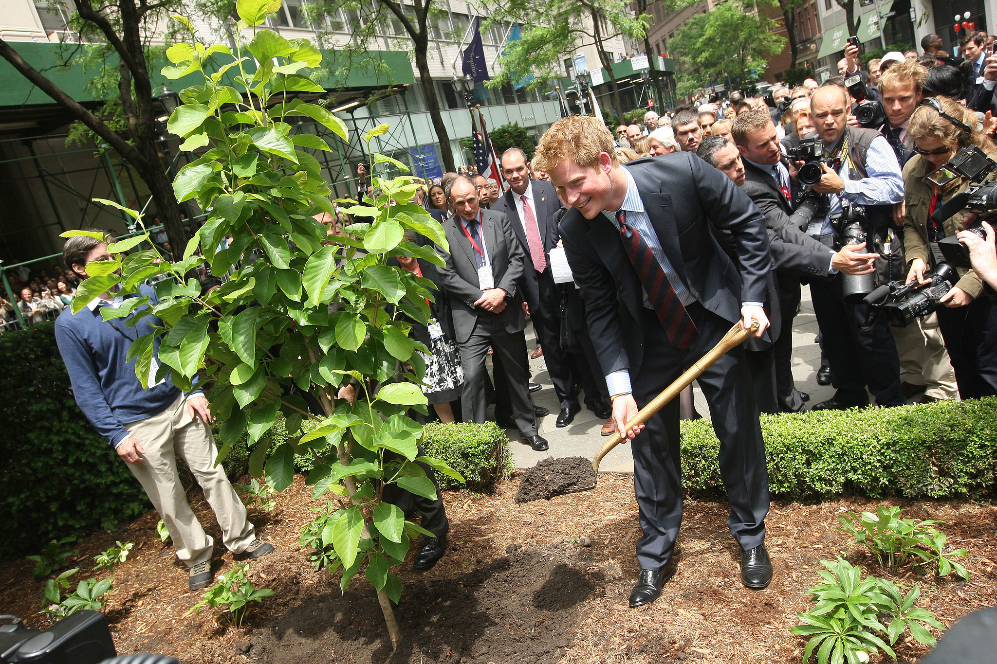 Prince Harry planted a tree at the British Garden at Hanover Square in May 2009.