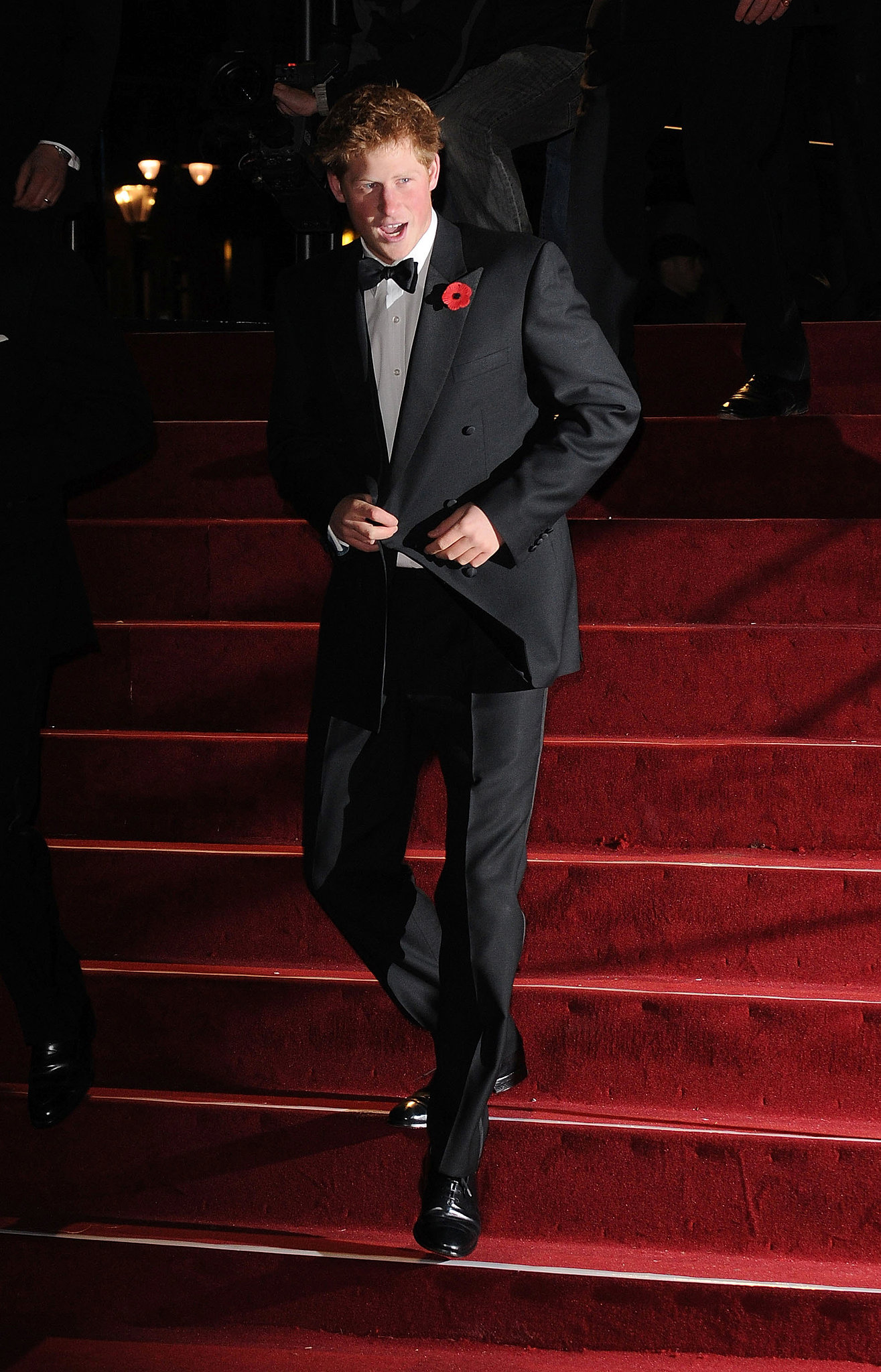 Prince Harry dressed up in a tux for the 2008 royal premiere of Quantum of Solace in London.