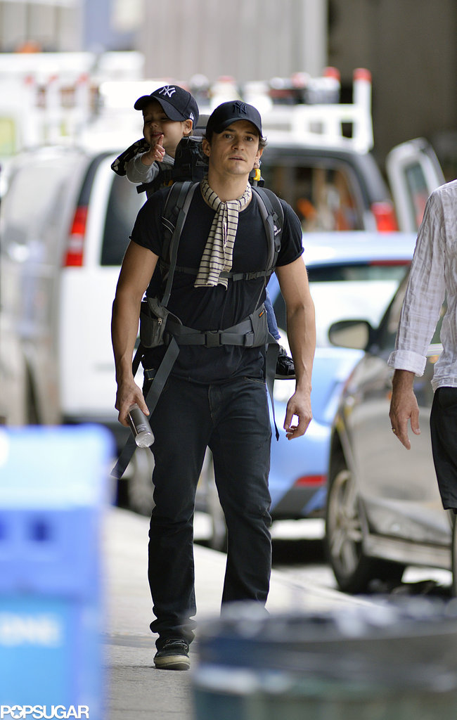 Orlando Bloom walked around NYC with his son, Flynn.