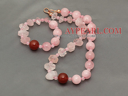 Pink Series Incidence Angle Rose Quartz Set ( Necklace and Matched Bracelet )