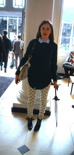 We're all about the printed pants and the charming button-up and knit. Source: Hannah Freeman