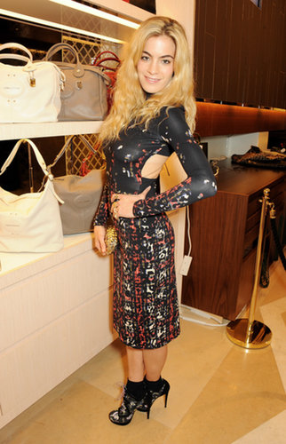 Chelsea Leyland worked every angle of her sheath at the Longchamp London flagship opening.