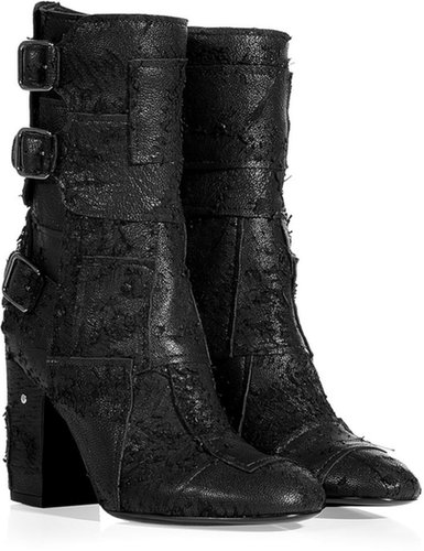 Laurence Dacade Black Distressed Leather Patchworked Half Boots
