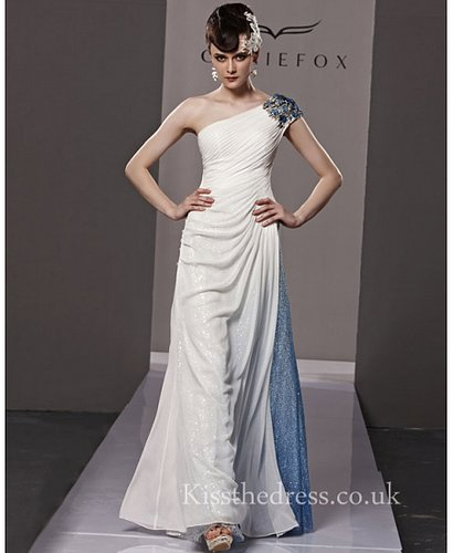 White/Blue Chiffon Sequins One Shoulder Long Prom Dress CYH81120