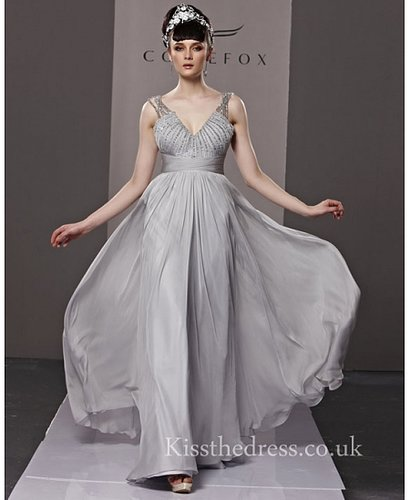 Grey Chiffon V-neck Straps Empire Long Prom Dress CYH81195