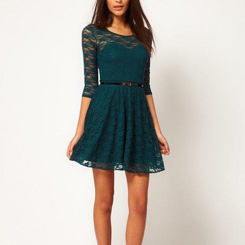 Hot Sale Sexy Spoon Neck 3/4 Sleeve Lace Dress Belt Include Sheath Empire Short Dress