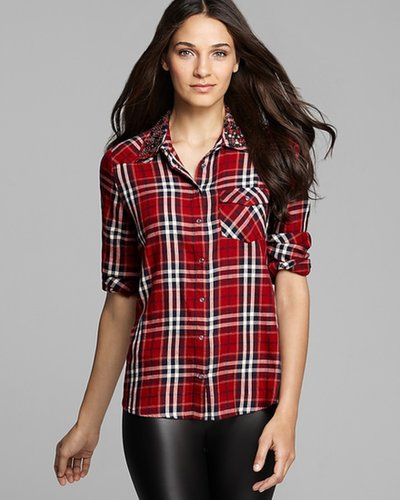 GUESS Top - Plaid Studded Collar