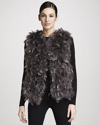 Trilogy Dyed Turkey Feather Vest, Gray