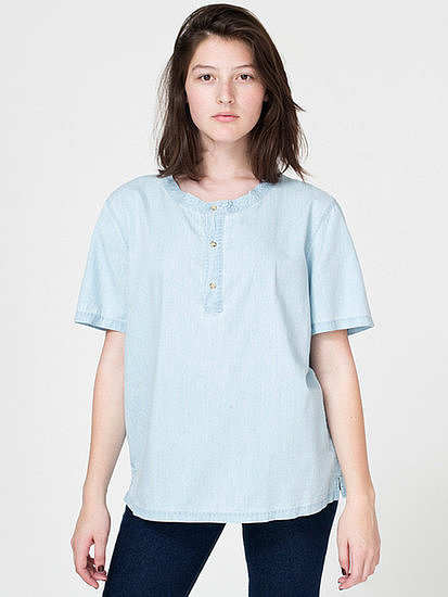 Add this American Apparel denim short-sleeve henley t-shirt ($42) to leather pants for a cool Fall look.