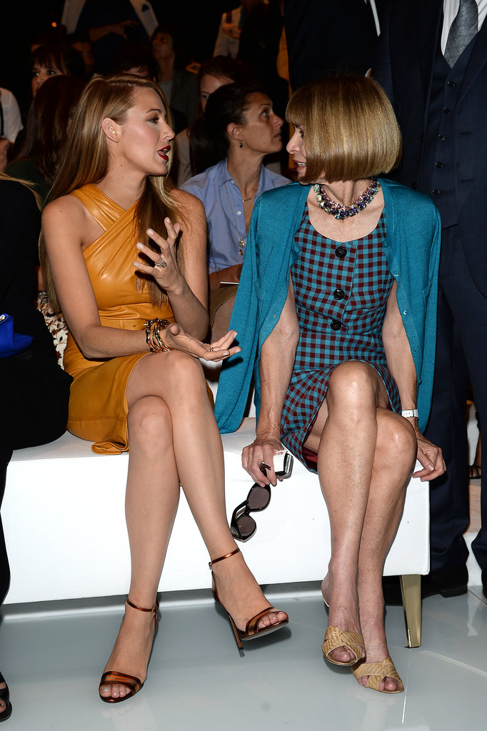 Blake Lively chatted up Anna Wintour at Gucci's show in Milan.