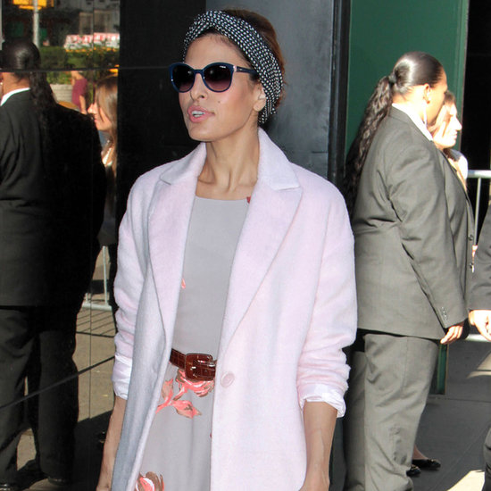 Eva Mendes Wearing Her Designs in NYC
